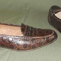 Ferragamo Flats Shoes 7aa Vintage Brown Croc Embossed Leather Loafers Moccasins Photo