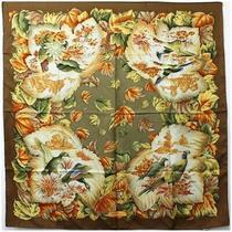 Ferragamo Silk Scarf Brown Bird Flowering Plant Second Hand a Rank Salvatore Photo