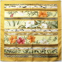 Ferragamo Silk Scarf Gold Floral Leopard Pattern Used a Rank Salvatore Women Photo