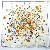 Ferragamo Silk Scarf White Navy Floral Second Hand a Rank Salvatore Women Flora Photo