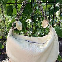 Ferragamo White Python Hobo Handbag Purse Mother of Pearl Silver Chain 3k Photo