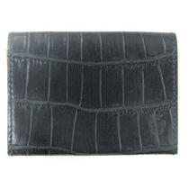Ferryge Felisi 909 Card Case Business Croc-Shaped Push Leather Dark Blue Navy Photo