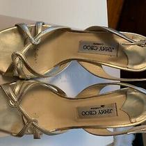 Festive Jimmy Choo Gold Strappy Sandals Metallic Leather Pump Heels Size Eu 39.5 Photo