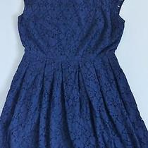 Figure-Flattering Madewell Navy Blue Solid Rose Lace Cap-Sleeve Dress 2  Photo