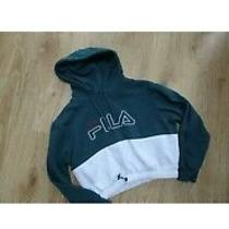 Fila Ladies Green White Cropped Hooded Sweatshirt Jumper Uk 10 Excellent Photo