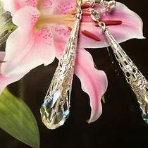 Filigree Fantasy Crystal Silver Bridal Vintage Antique Wedding Long Gold Earring Photo