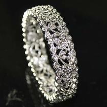 Filigree Vintage Style Bridal Wedding Bracelet Bangle Made With Swarovski Crysta Photo