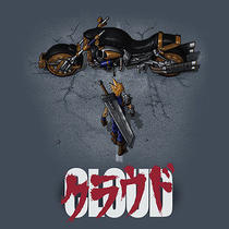 Final Fantasy Vii Cloud Strife/akira Game/anime Rpg Artwork New Teefury T-Shirt Photo