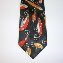 Fishing Lures Novelty Neck Tie Steven Harris Handmade Fish Mens Black Red Gold Photo