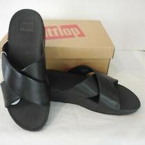 Fitflop  Black Lulu Cross Slide Leather Sandals Women's Size 9 Nib Wobbleboard Photo