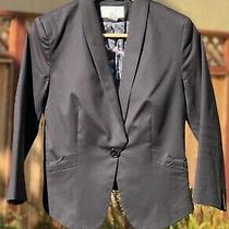 Fitted Black Blazer Size 6 Small Stretch Cotton 3/4 Length Sleeves Pockets h&m Photo