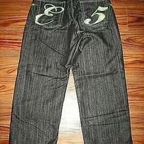 Five Elements Mens Jeans Size 32 X 32 Beautiful Art Green Studs-Multi Color Thrd Photo