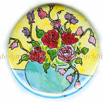 Flat Art Pocket Mirror or Pin Baerreis Art for Your Pocket Roses and Sweet Pea Photo
