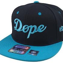 Flat Bill Snapback Hat Two Tone Hip Hop Cap Dope Dope Black/aqua Blue Bill Photo