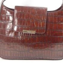 Flawless  Fossil Dark Brown Croc Embossed Leather Flap Handbag Purse Satchel Photo