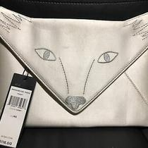 Flaws Bcbg Maxazria Foxy Fox Face Envelope Clutch Embroidered Ivory White Purse Photo