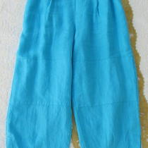 Flax Engelhart Kickers Floods L Pants Aqua Blue Linen 2009 Crop Wide Leg Xl Plus Photo