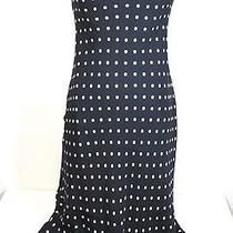 Flirty Brooks Brothers Polka Dot 100% Silk Biascut Pull on Dress S Ruffle Blue Photo