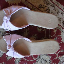 Flirty Pink and White Stripe Wedge Sandal 8w Photo