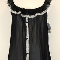 Flora Nikrooz Babydoll Chemise Panty Set Camidoll Black Ivory Lace Sz M New 52 Photo