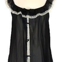 Flora Nikrooz Babydoll Chemise Panty Set Lingerie Black Ivory Lace Sz M New 52 Photo