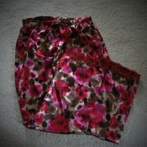 Flora Nikrooz Satiny Lace Trimmed Lounge Pajama Cropped Pants  Sz S Photo