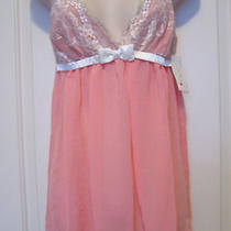 Flora Nikrooz Size Small Chiffon Baby Doll With G-String Panty Melon in Color Photo