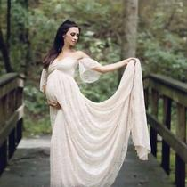 Floral Lace Blush Maternity Dress W/ Train Empire Waist Photography Wedding Photo