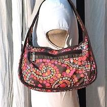 Floral Le Sportsac Handbag Shoulder Bag Purse Nylon Canvas Brown Pink Euc Photo