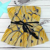 Floreat Anthropologie Creased Swirls Print Corset Top Size 10 Strapless Orange  Photo