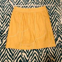 Floreat Anthropologie Embroidered Skirt Size 12 Yellow Photo