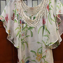 Floreat Anthropologie Fluted Sleeve Sheer Floral Tunic Top Blouse M Photo