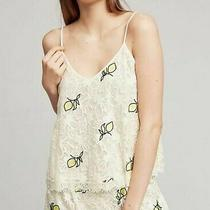 Floreat Anthropologie Lemon Lace Camisole Tank Top Ivory Yellow Embroidery Sz S Photo