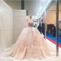 Flower Applique Blush Luxury Puffy Bridal Ball Gown Sleeveless Wedding Dress New Photo