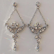Flower Dangle Earrings Bridal Earrings Clear Swarovski Earrings E1172 Photo