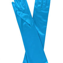 Flower Girls Aqua / Turquoise Long or Short Satin Formal Gloves 4-7 8-12 Yrs Photo