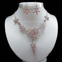 Flower Necklace & Earrings Wedding Jewelry Set Lt Rose Swarovski Crystal N682 Photo