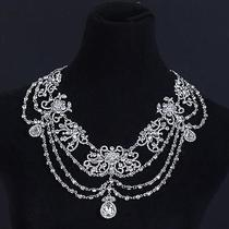 Flower  Shoulder Chain Necklace Bride Jewelry Shining Rhinestones Wedding  Photo