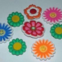 Flowers Bright Colors 8pc Set Jibbitz Shoe Bracelet Charms Fits Crocs F106 Photo