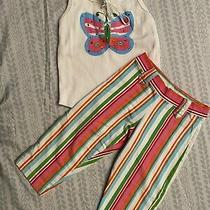 Flowers by Zoe Boutique Set  Tank Top With Matching Striped Pants Size Med Photo