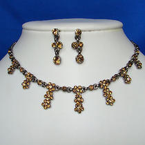 Flowers Necklace & Earrings Set Topaz Swarovski Crystal  Jewelry Set N1006 Photo