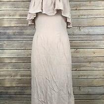 Flynn Skye Fiona Strapless Midi Dress Womens M Blush Pink Ruffled Zip Back New Photo