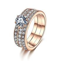 Forcolor Rose Gold Plated Three-Row Swarovski Elements Crystal Round Cut Ring Photo