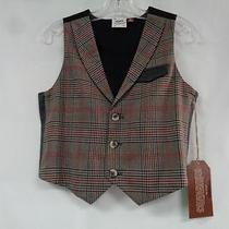 Fore Axel & Hudson Nwt 5/6 Brown Red Black 65% Rayon Plaid Lined Boys Vest Photo