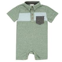 Fore Axel & Hudson Polo Romper Short Sleeve Green Color Block 9-12m Photo