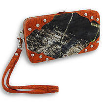 Forest Camouflage Iphone 5/5s Wallet Wristlet With Mock Croc Trim Color Orange Photo