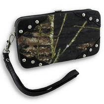 Forest Camouflage Iphone 5/5s Wallet Wristlet With Mock Croc Trim Color Black Photo