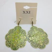 Forever 21 Big Green Palm Shap Chinese China Folk Style Large Dangle Earring New Photo