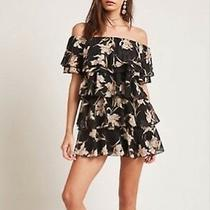 Forever 21 Black Blush Floral Tiered Off the Shoulder Dress Small S Photo