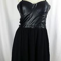 Forever 21 Black Faux Leather Corset Dress Size New M Photo
